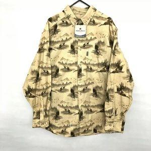 🗽Woolrich Button Down Soft Fleece Shirt Deer XL